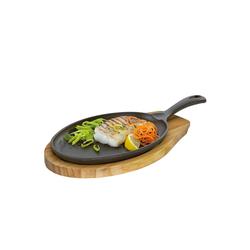 Neuetischkultur Servierpfanne Servierpfanne Oval mit Holzbrett, Gusseisen, Holz (2-tlg), Pfanne