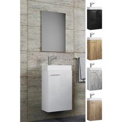VCM Waschplatz Waschbecken Schrank + Spiegel WC Gäste Toilette Badmöbel klein schmal