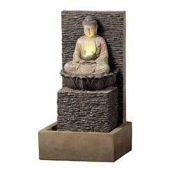 Dehner Gartenbrunnen Buddha mit LED, 64 x 35 x 32 cm, Polyresin, braun