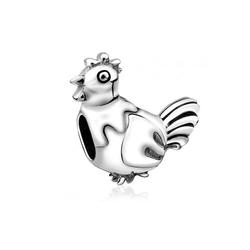 Nenalina Charm-Einhänger Hahn Bead-Anhänger Tier Oxidiert 925 Silber