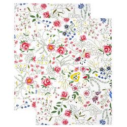 Lashuma Geschirrtuch Blumenranke, (Set, 2-tlg), Weiches Küchenset, Geschirrhandtücher 48x68 cm