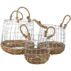 Aufbewahrungskorb, (Set, 3 St.), aus Metall und Rattangeflecht beige Körbe Boxen Regal- Ordnungssysteme Küche Ordnung Aufbewahrungskorb