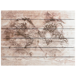Art for the home Holzbild Wood World Map, Weltkarte, 80x60cm