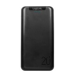 LogiLink Powerbank, (1 St), Zusatzakku mit 20.000mAh schwarz für Geräte mit hohem Stromverbrauch geeignet