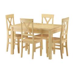 ERST-HOLZ Essgruppe Sitzgarnitur mit Tisch und 4 Stühle Kiefer Massivholz Vollholzmöbel 90.70-51 C-Set 23