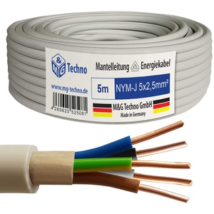 M&G Techno 5m NYM-J 5x2,5 mm2 Mantelleitung Feuchtraumkabel Elektrokabel Kupfer Made in Germany, grau