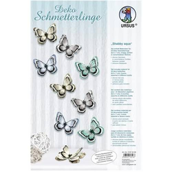 Deko Schmetterlinge 'Shabby aqua' Set für 24 Deko Schmetterlinge 8,5 x 7cm