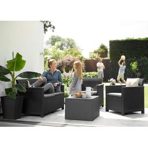 Lounge-Set 4-tlg. bestehend aus: 2er Sofa, 2x Sessel und Kissenbox Tisch - stilvolle Sitzgruppe in Rattan Optik - inklusive Sitzkissen - ergonomische Rückenlehnen für maximalen Sitzkomfort