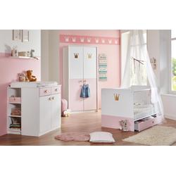 Babyzimmer 4-tlg. in weiß mit Abs. in rosé, Babybett B: ca. 80 cm, Wickelkommode B: ca. 91 cm, Kleiderschrank B: ca. 95 cm