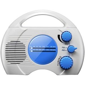 POHOVE Wasserdichtes Duschradio, batteriebetriebener Duschlautsprecher mit AM/FM-Radio, tragbares Badradio zum Aufhängen (ohne Batterien)