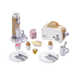howa Kinder-Küchenset, (24-tlg), Frühstücksset mit Kaffeemaschine und Toaster aus Holz