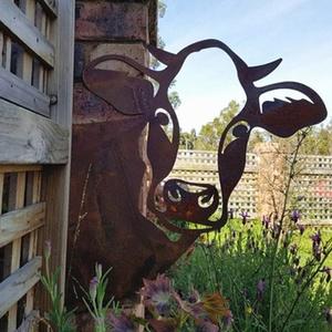 Domybest Metall Gartenfigur Rostoptik Cow Baumstecker, Cow Figur Gartendeko Rost Figur Statue für Outdoor, Garten, Hof, Metall Rost Gartenstecker, Höhe 28cm x Länge 29cm (Cow)