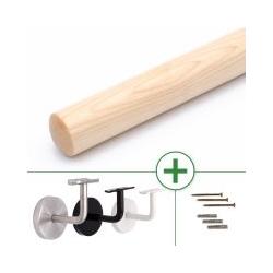 Holzhandlauf Ahorn rund, konfigurierbar, mit/ohne Halter, Ø 40 - 50 mm, Länge nach Maß
