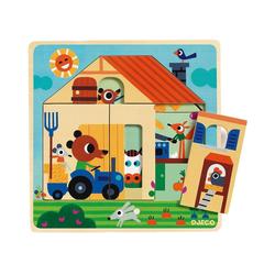 DJECO Puzzle 3-Schichten-Puzzle Chez Gaby, 9 Teile, Puzzleteile