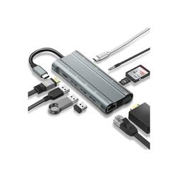 IVSO Tablet-Dockingstation USB Typ C Hub Mini Dockingstation Typ C zu USB 3.0 HDMI 1080P PD TF SD 3,5 mm Audiobuchse 10 in 1