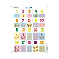 Larsen Puzzle Rahmen-Puzzle, 20 Teile, 36x28 cm, Zahlen & Zählen, Puzzleteile