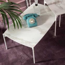 Sofa Beistelltisch mit Keramikplatte Weiß und Grau