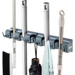 Halter Besenhalterung Mop Halter Besenhalter Gerätehalter Geräteleiste, COSTWAY, mit 6 faltbaren Haken und 5 Schnellspannern