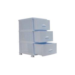 HTI-Living Schubkastenkommode Schubladenturm in Rattan-Optik 3 Schubladen (1 St) weiß