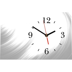LAUTLOSE Designer Tischuhr grau weiß Abstrakt Standuhr modern Dekoschild Bild 30 x 20cm