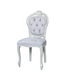 Design Stuhl in Weiß Samt Barockstil