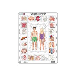Larsen Puzzle Rahmen-Puzzle, 35 Teile, 36x28 cm, Unser Körper, Puzzleteile