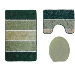 Ilkadim Orion Badgarnitur 3 TLG. Set 50x80 cm Mehrfarbig gestreift, WC Vorleger mit Ausschnitt für Stand-WC (grün dunkelgrün)
