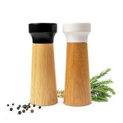 Sendez Salz-/Pfeffermühle 2er Set Pfeffermühle Salzmühle Weiß/Schwarz Mühle Holz/Keramik Gewürzmühle