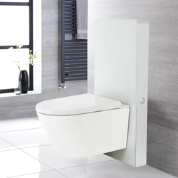 Hirayu Japanisches Wand-Dusch-WC inkl. Saru Sanitärmodul H 1000mm Weiß mit Sensor-Spülung