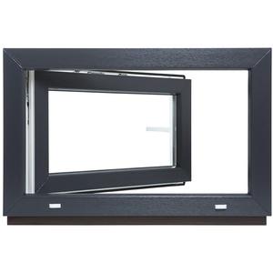 Kellerfenster - Kunststoff - Fenster - innen weiß/außen anthrazit - BxH: 50 x 40 cm - 500 x 400 mm - DIN Links - 3 fach Verglasung - 60 mm Profil
