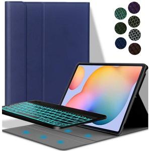 YGoal Tastatur Hülle für Galaxy Tab S6, Deutsches QWERTZ Layout Ultra-Dünn Hülle mit 7 Farben Hintergrundbeleuchtung Abnehmbarer Tastatur für Samsung Galaxy Tab S6 10.5 T860/T865, Blau