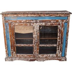 Guru-Shop Standvitrine Glastür Kommode aus Recycel-Holz - Modell 2