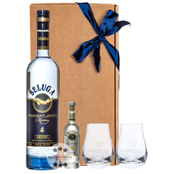 Beluga Vodka Geschenkset: Transatlantic Vodka + Mini + 2 Wodka-Gläser
