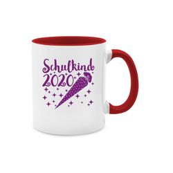 Shirtracer Tasse Schulkind 2020 mit Schultüte und Sternchen lila - Einschulung und Schulanfang - Tasse zweifarbig - Tassen, tasse mit schulkind