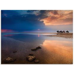 Artland Glasbild Farbexplosionen, Strand (1 Stück) 80 cm x 60 cm x 1,1 cm
