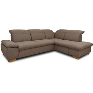 DOMO Collection Maven Ecksofa, Sofa mit Arm- und Rückenfunktion, Polsterecke mit Federkern und Relaxfunktion, 286x218x77 cm, Eckcouch braun
