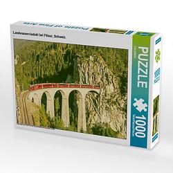 Landwasserviadukt bei Filisur, Schweiz. Lege-Größe 64 x 48 cm Foto-Puzzle Puzzle