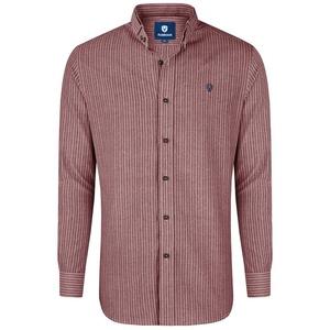 Almbock Trachtenhemd Herrenhemd Florian rot-weiß-gestreift XXL