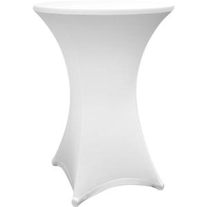 Lumaland hochwertige Stehtischhusse Tisch-Überzug Husse pflegeleicht abwischbar Stretch schnelltrocknend Ø 70-75cm Weiß