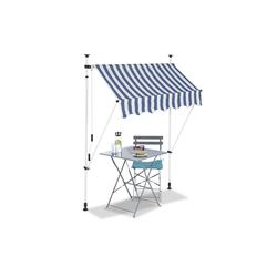 relaxdays Klemmmarkise Klemmmarkise blau weiß 150 cm x 120 cm x 300 cm