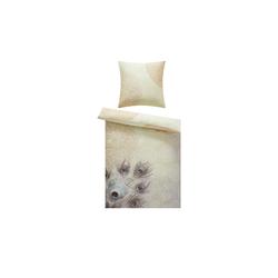 Satin Bettwäsche  Pfauenfeder ¦ gelb ¦ 100% Baumwolle    ¦ Maße (cm): B: 135