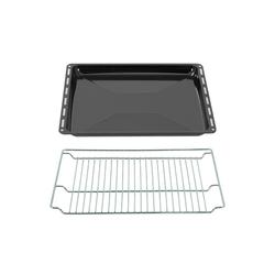 ICQN Backblech 445 x 375 x 35 mm Gitter + Fettpfanne, Emaille, (Spar-Set, 2-St., 1x Fettpfanne 1x Grillrost), Verchromt Backofenrost und Emaille Backblech