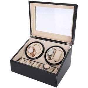 Cocoarm Uhrenbeweger 4 Uhren Watch Winder Box für alle Automatikuhren Mechanischen Uhren Uhrenbeweger mit 6 Grids Uhrenaufbewahrungskoffer (schwarz)