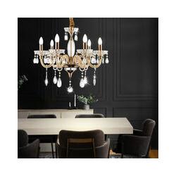 Kronleuchter, Lüster, gold, Kristalle, 6-flammig, H 115 cm