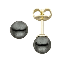 JOBO Paar Ohrstecker, 585 Gold mit Hämatit