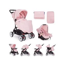Kikkaboo Kinder-Buggy Kinderwagen Airy 2 in 1, mit Babyschale, Wickeltasche, Bremse, klappbar rosa