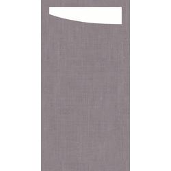 Duni SACCHETTO 230x115mm Dunisoft Servietten ,gr grey /Servietten weiß - 4x60...