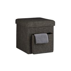 relaxdays Sitzhocker Faltbarer Sitzhocker Leinen mit Fach braun