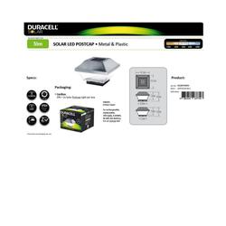 Duracell LED Gartenleuchte Zaunpfostenleuchte DuraCell Solar LED Leuchte für