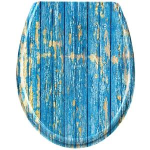 LARS360 Toilettendeckel WC Sitz mit Absenkautomatik Oval Toilettensitz Antibakteriell Klodeckel Klobrille aus Duroplast, Blaue Lumber Muster WC Sitz, für Meisten Klodeckel Hänge WC Spülrandloses WC